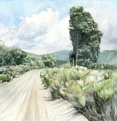 Road To Chapel - Watercolor