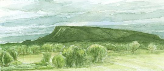 Storm Over The Mesa - Watercolor