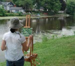 Laura Ibbotson painting plein air in Cedarburg Wisconsin